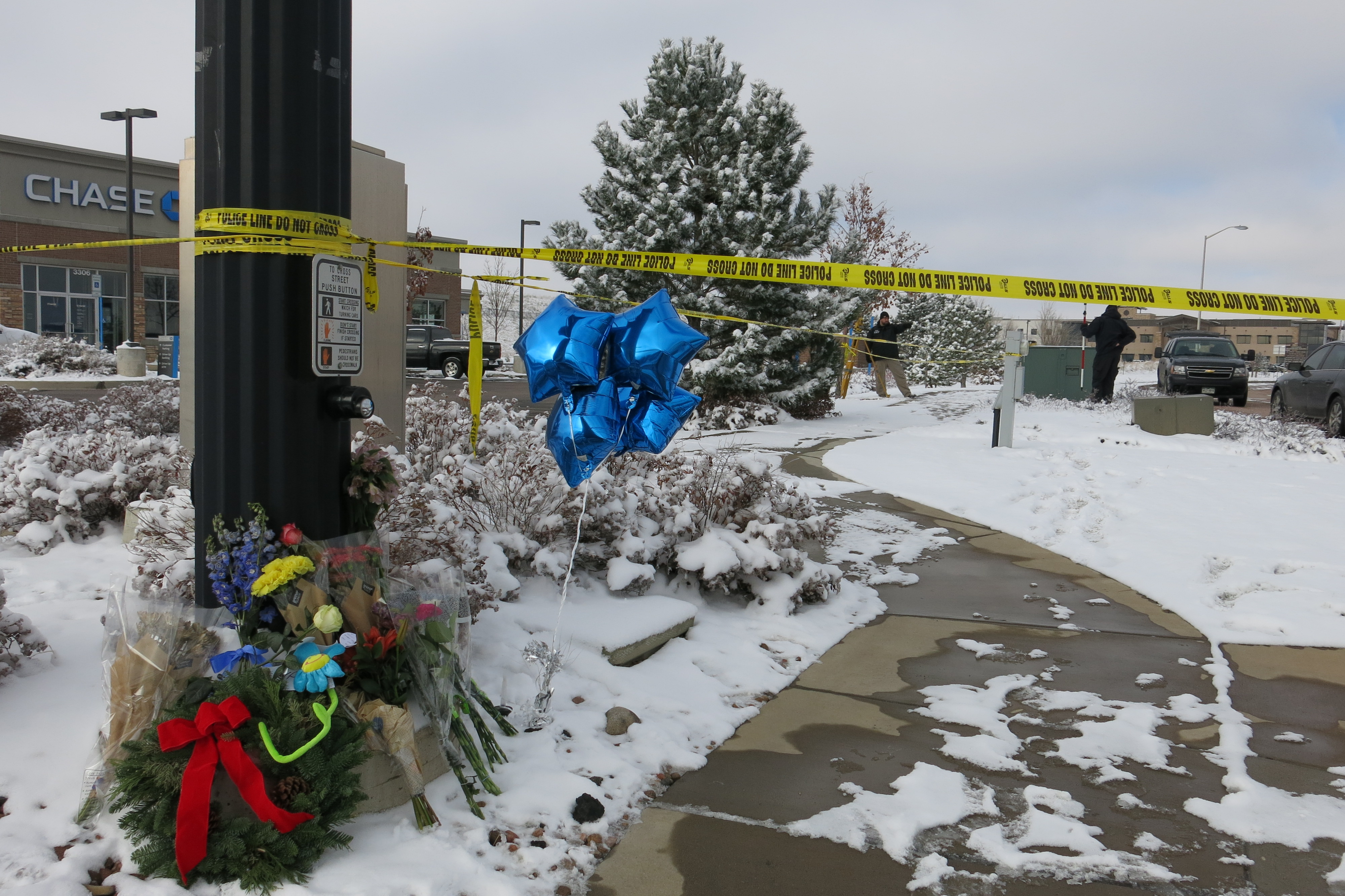 <p>Police tape and an impromptu memorial outside the Planned Parenthoodclinic in Colorado Springs on Sunday, Nov. 29, 2015</p>