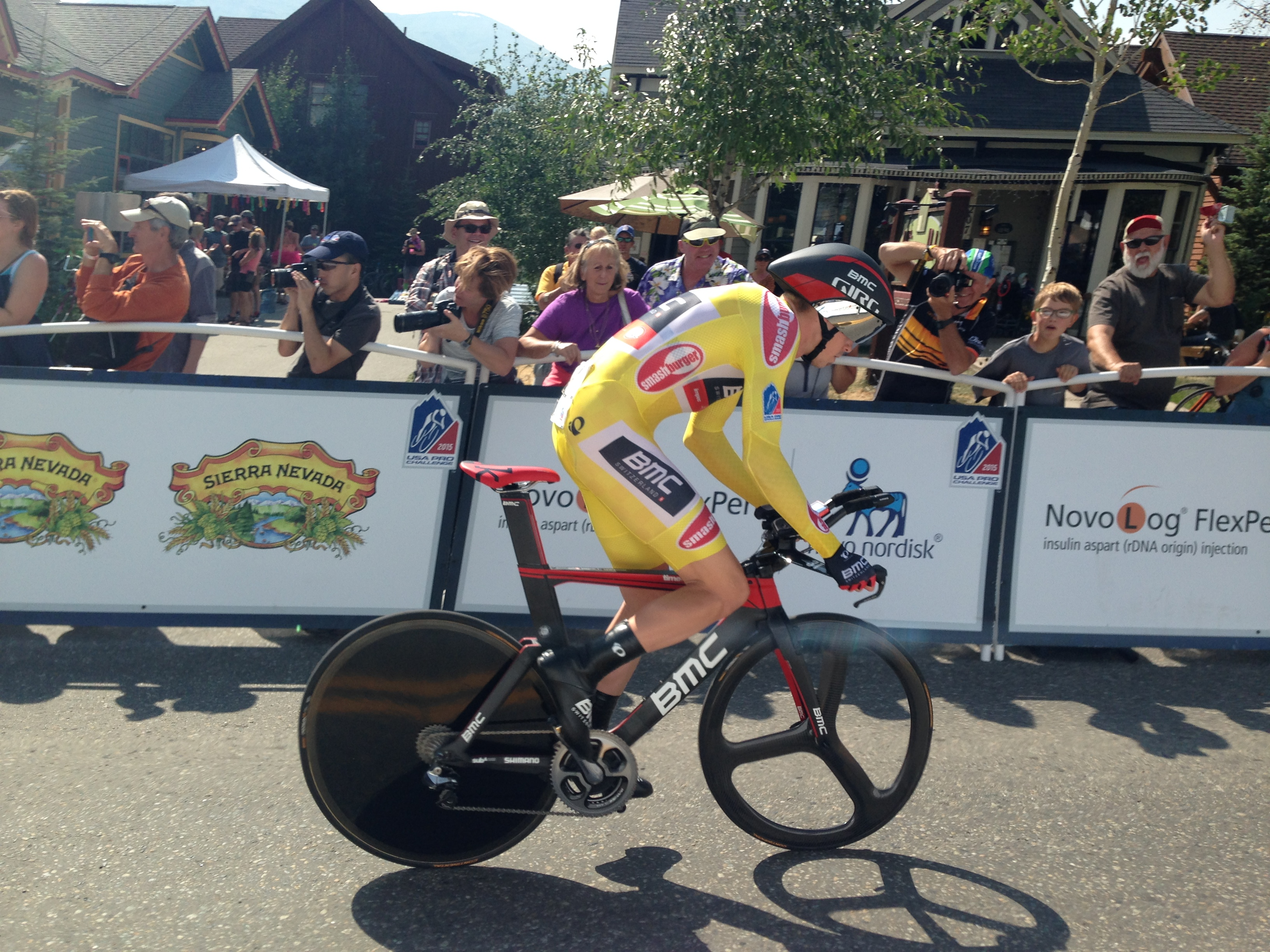 <p>Rohan Dennis (AUS) with the BMC Racing Team wins the time trial atthe USA Pro Challenge in Breckenridge Friday, August 21, 2015.</p>