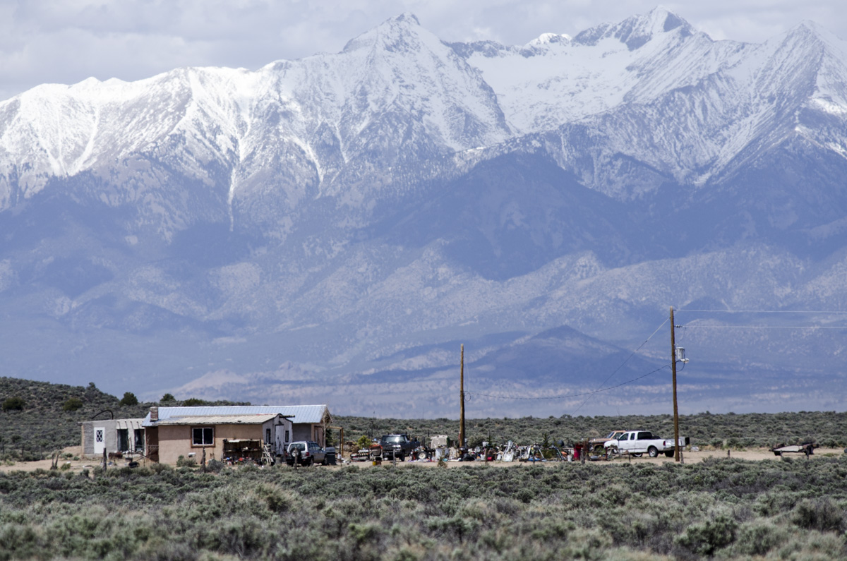 A home south of Fort Garland, Colorado, stands in the shadow of Blanca Peak in the San Luis Valley.