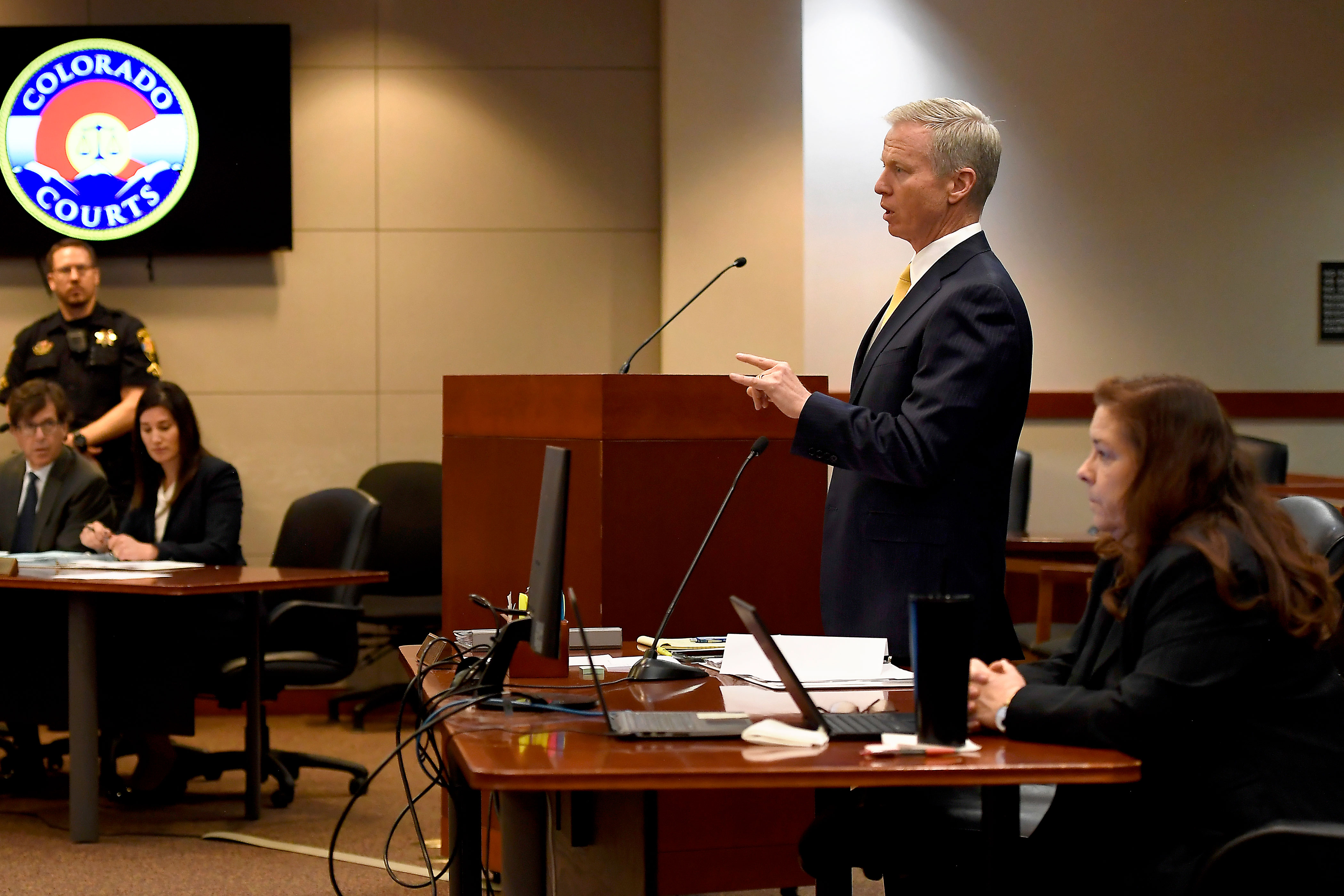 <p>District Attorney George Brauchler addresses the court as STEM School Highlands Ranch shooting suspect 18-year-old Devon Erickson, facing 48 criminal charges makes a court appearance at the Douglas County Courthouse May 15, 2019, in Castle Rock, Colo.</p>