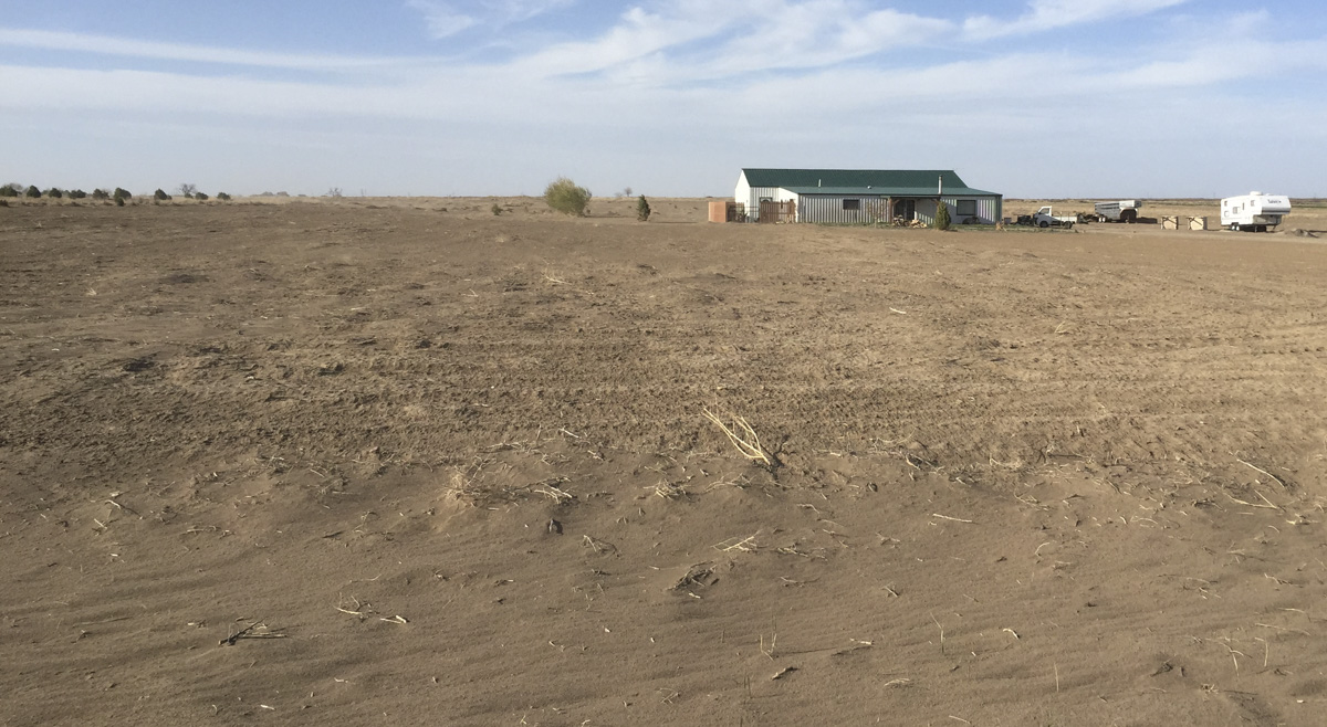 Southeastern Colorado is dry, flat country. Here, a home in Prowers County.