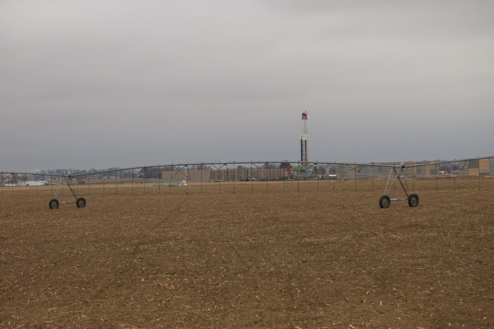 This drilling rig near Greeley shows the area's two powerful industries at work: agriculture and oil and gas. Nearly 90 percent of the state's oil is produced in Weld County.