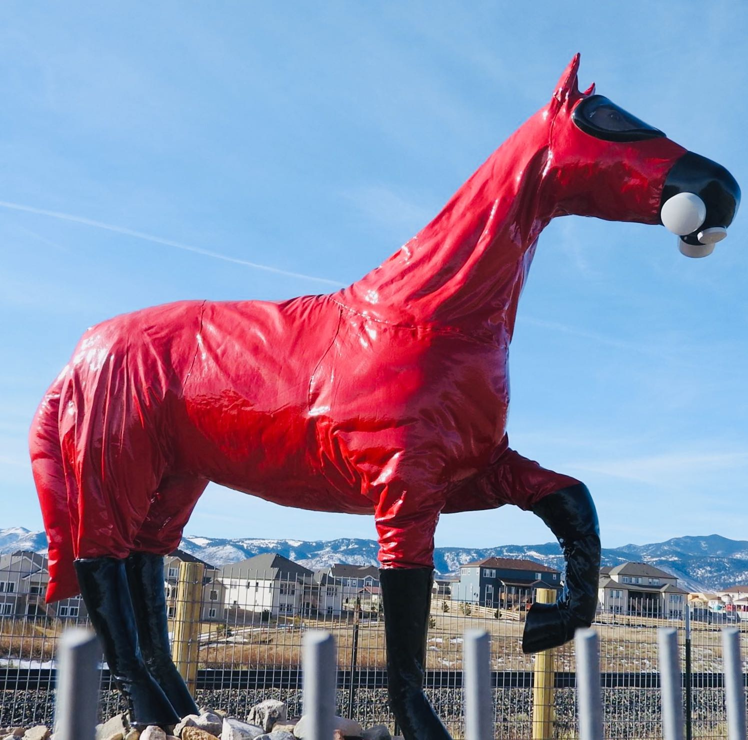 "The sculpture ""Cold War Horse"" south of Rocky Flats created by Jeff Gipe."
