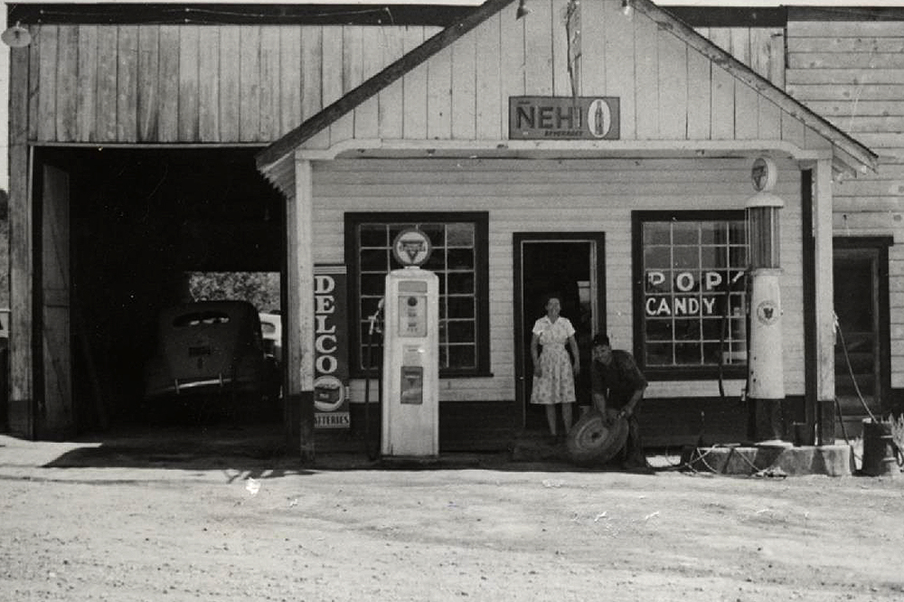 Black and white Nucla gas station
