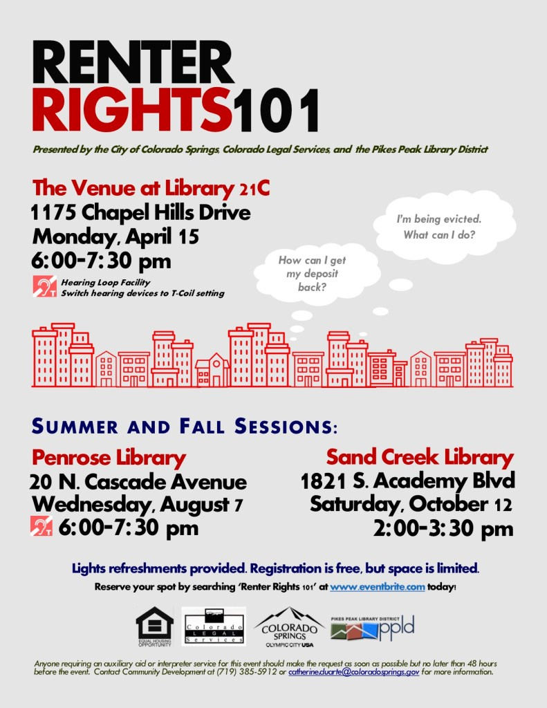 The city of Colorado Springs will host the next Renter Rights 101 Workshop Wednesday, August 7th at the Penrose Library.