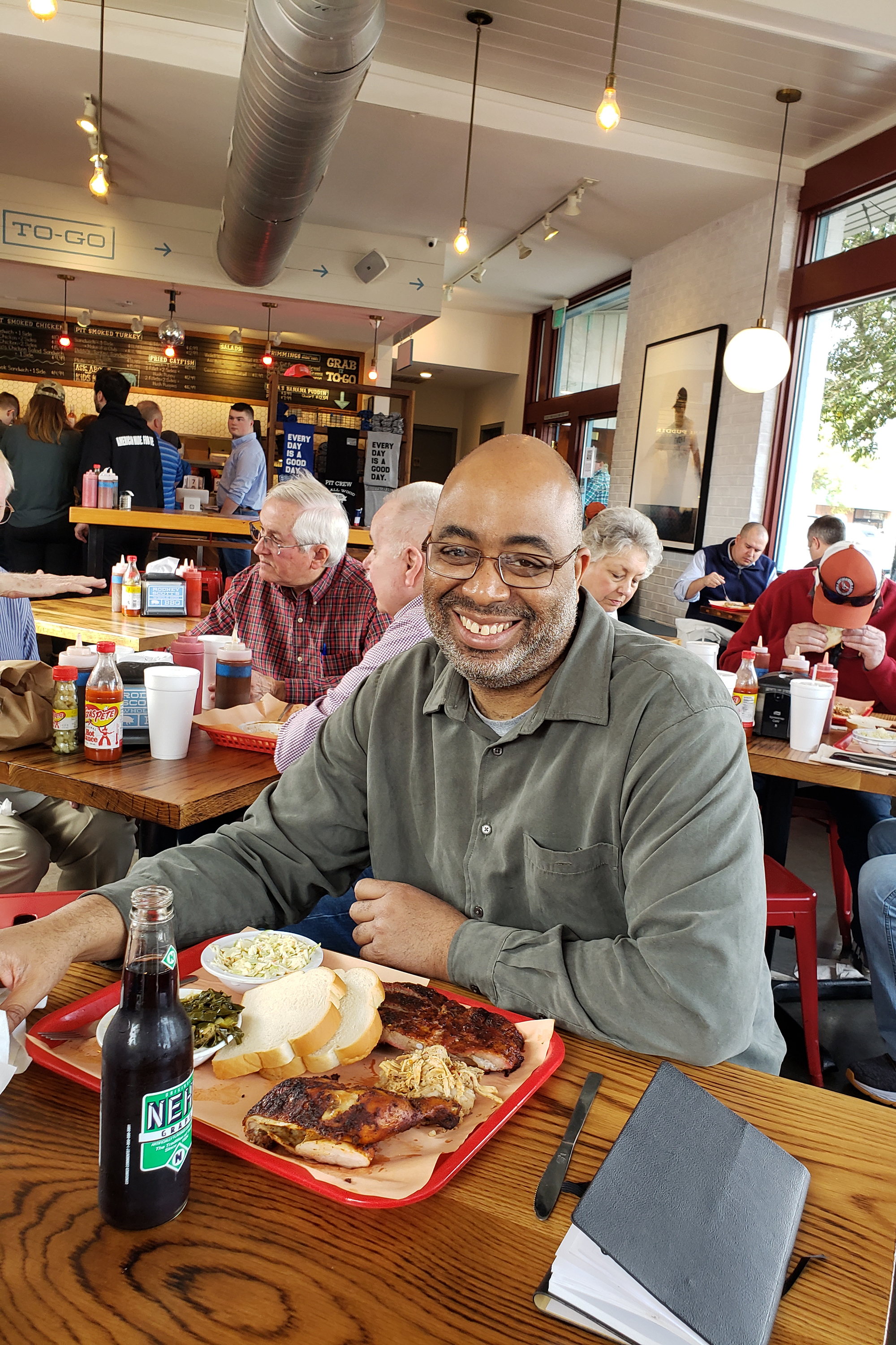 Author and barbecue expert Adrian Miller out to eat.