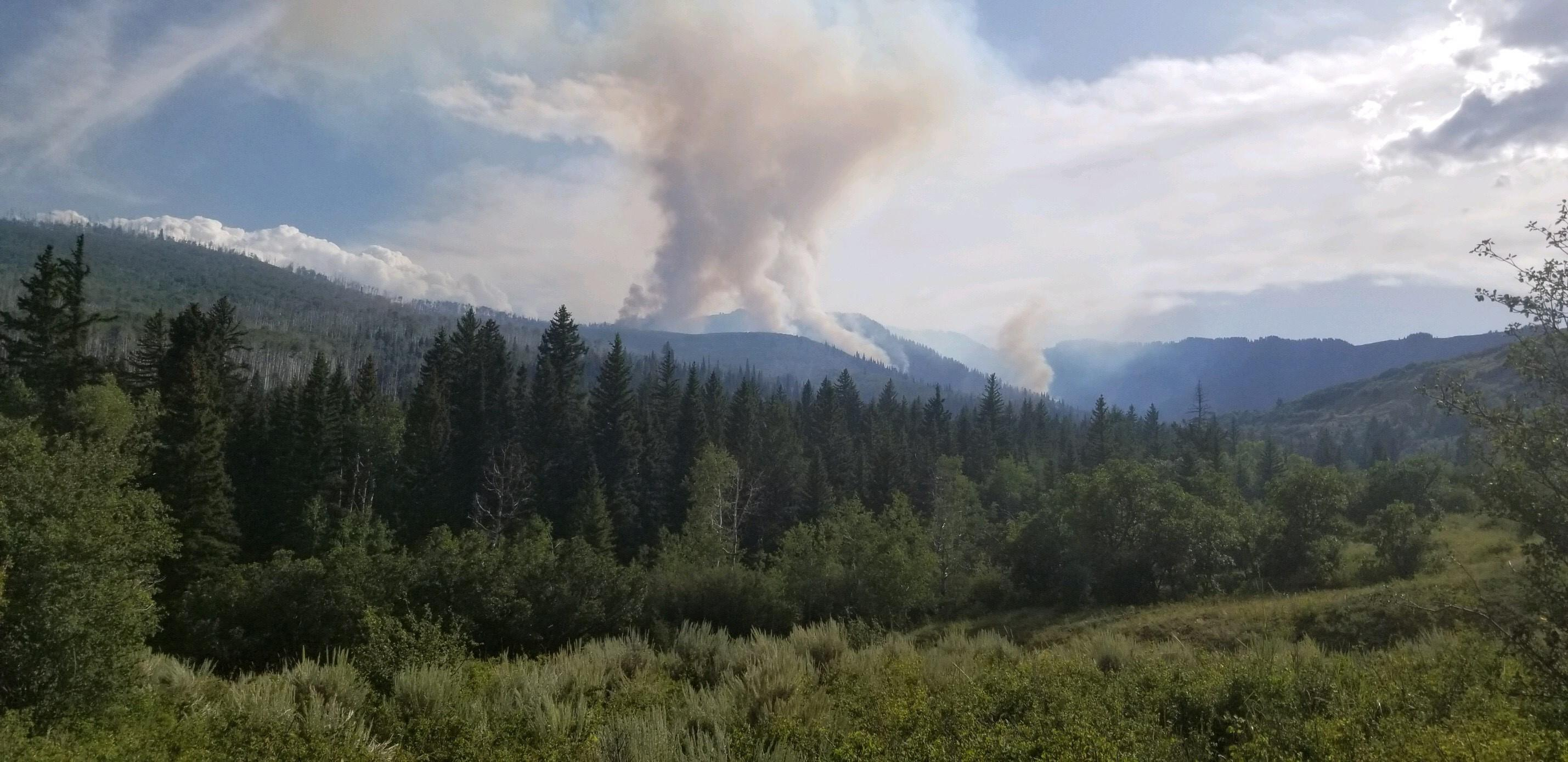 The Middle Mamm Fire south of Rifle, one of just four wildfires currently burning in Colorado.