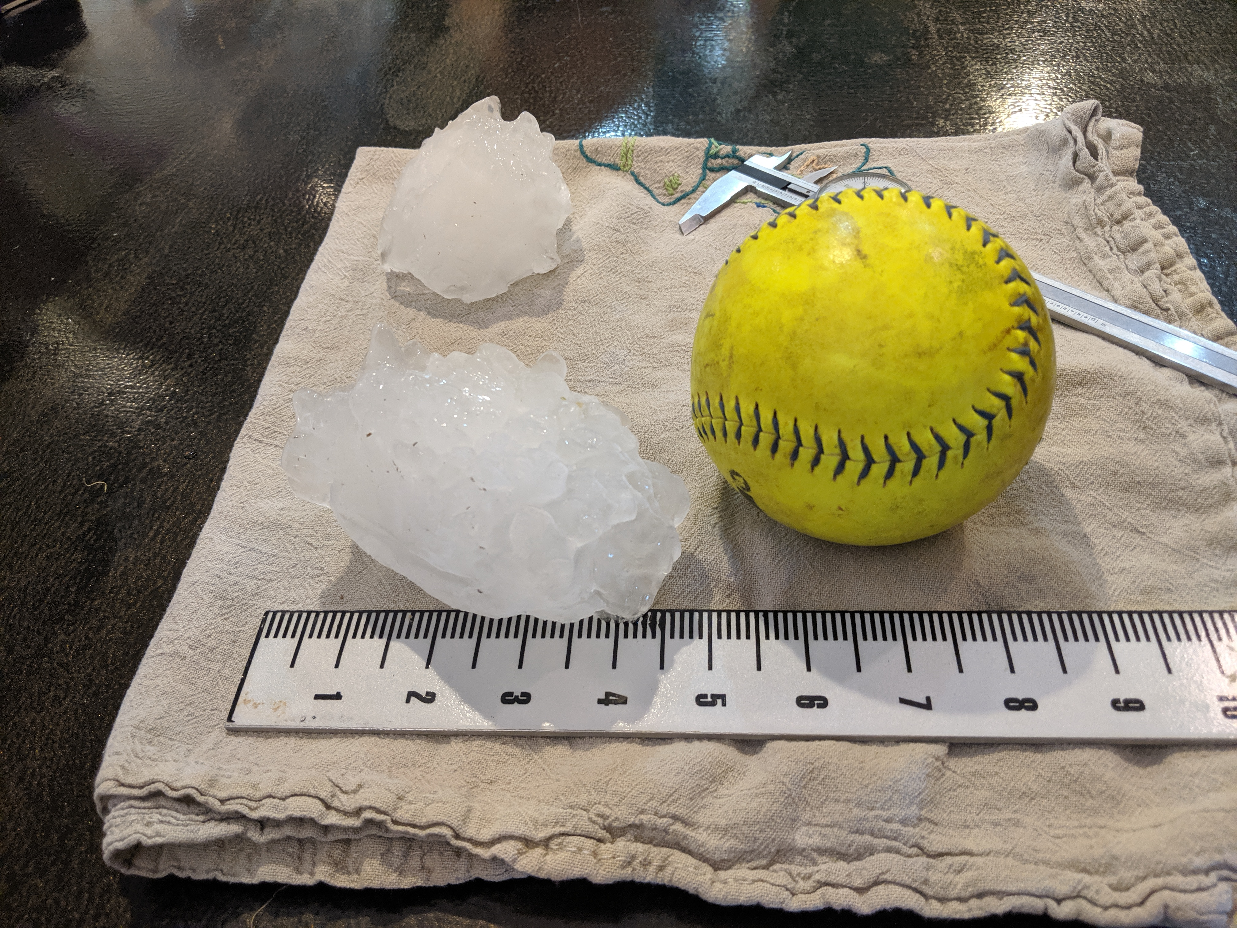 This hailstone fell outside of Bethune, Colorado, on Aug. 13, 2019.