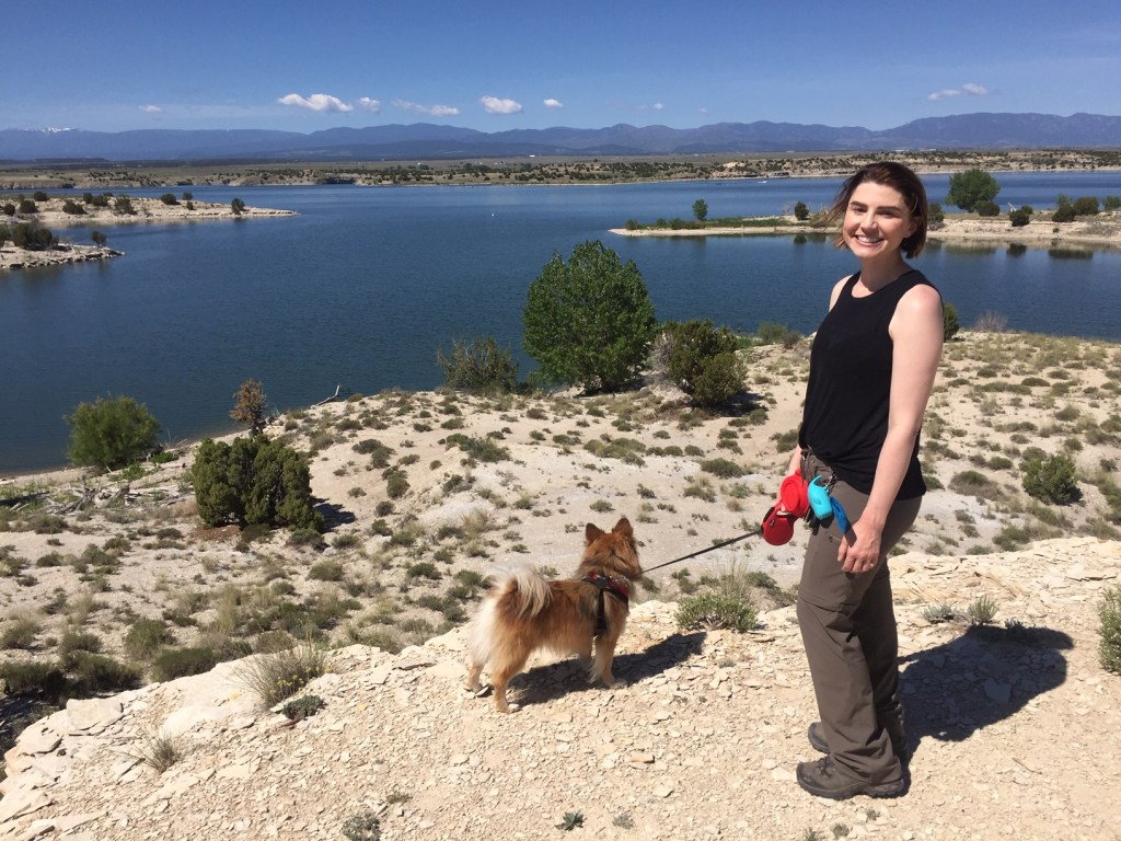 Samantha Breugger with her dog, Ghengis Khan, at the Pueblo Reservoir