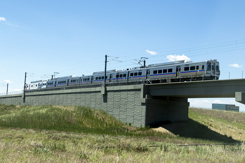 A University of Colorado A Line cruises toward Denver International Airport, June 12, 2019.