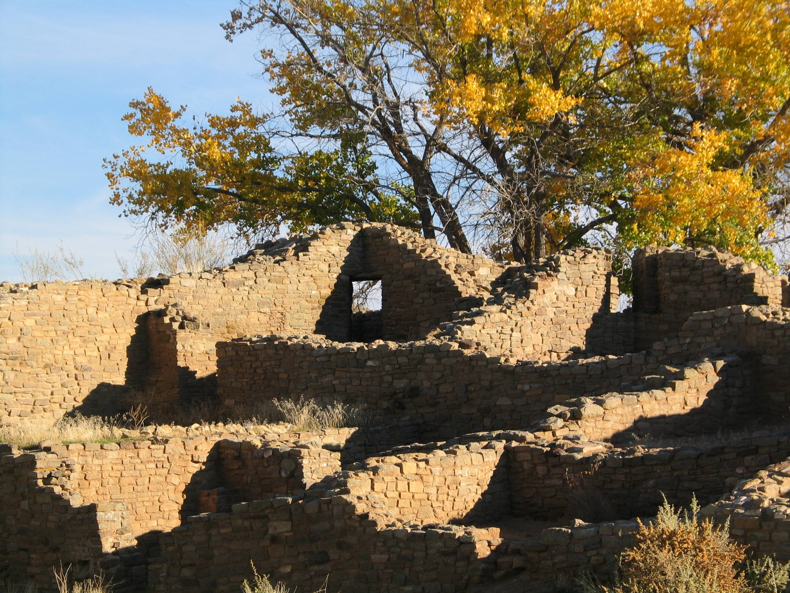 One of three corner doorways is seen at Aztec West at the Aztec Ruins National Monument in New Mexico.