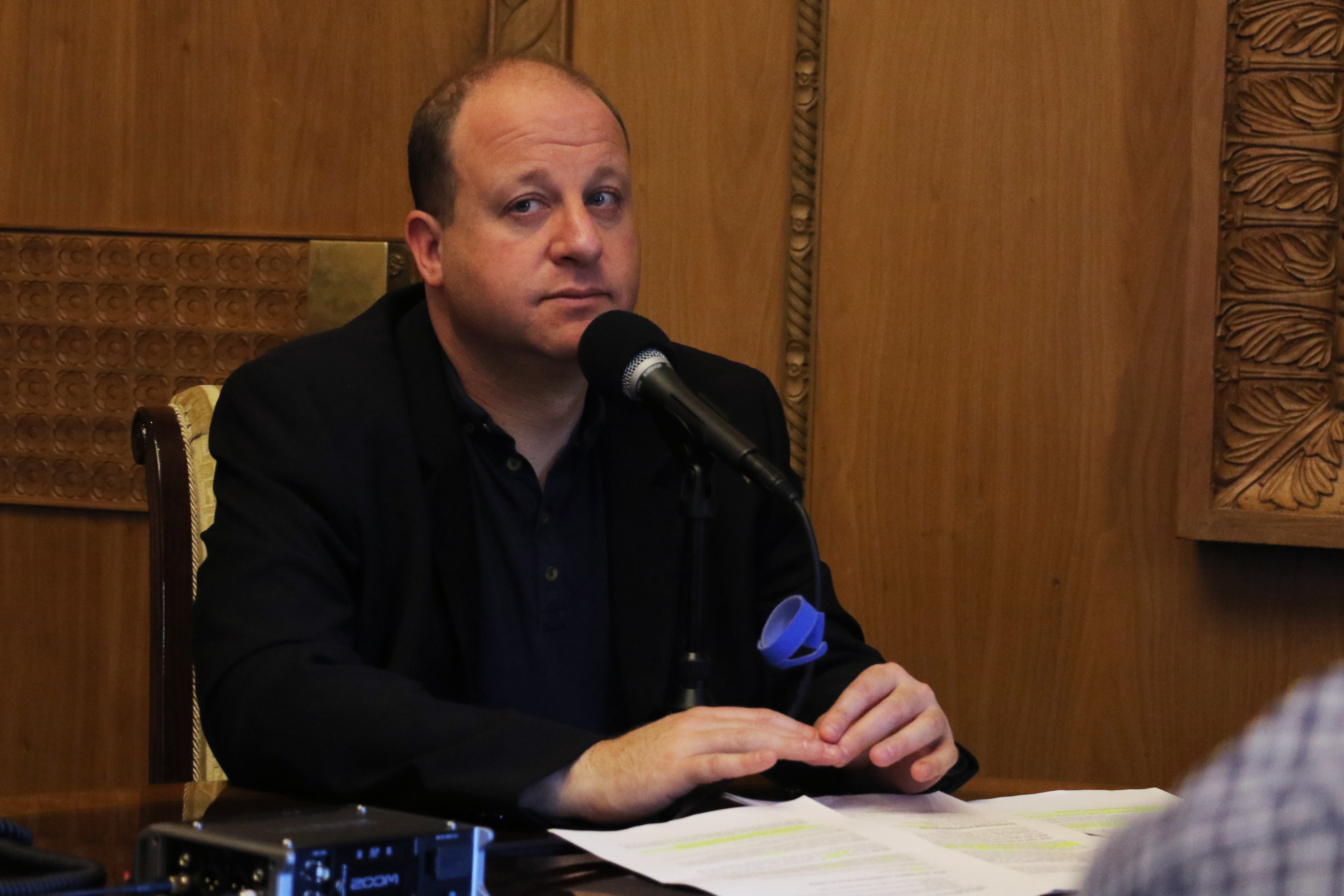 Gov. Jared Polis in his office at the state Capitol on Wednesday, Sept. 25, 2019.