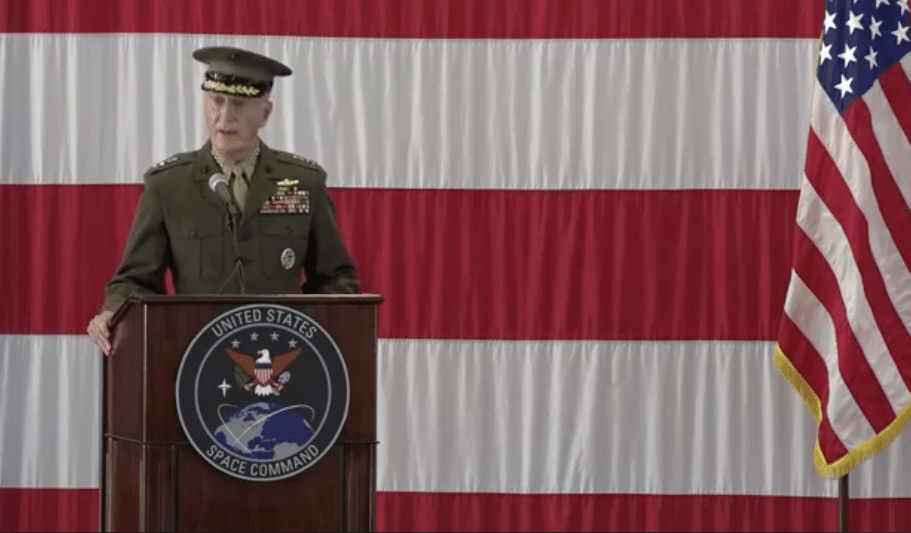 General Joseph Dunford, Chairman of the Joint Chiefs of Staff, marks the return of the U.S. Space Command