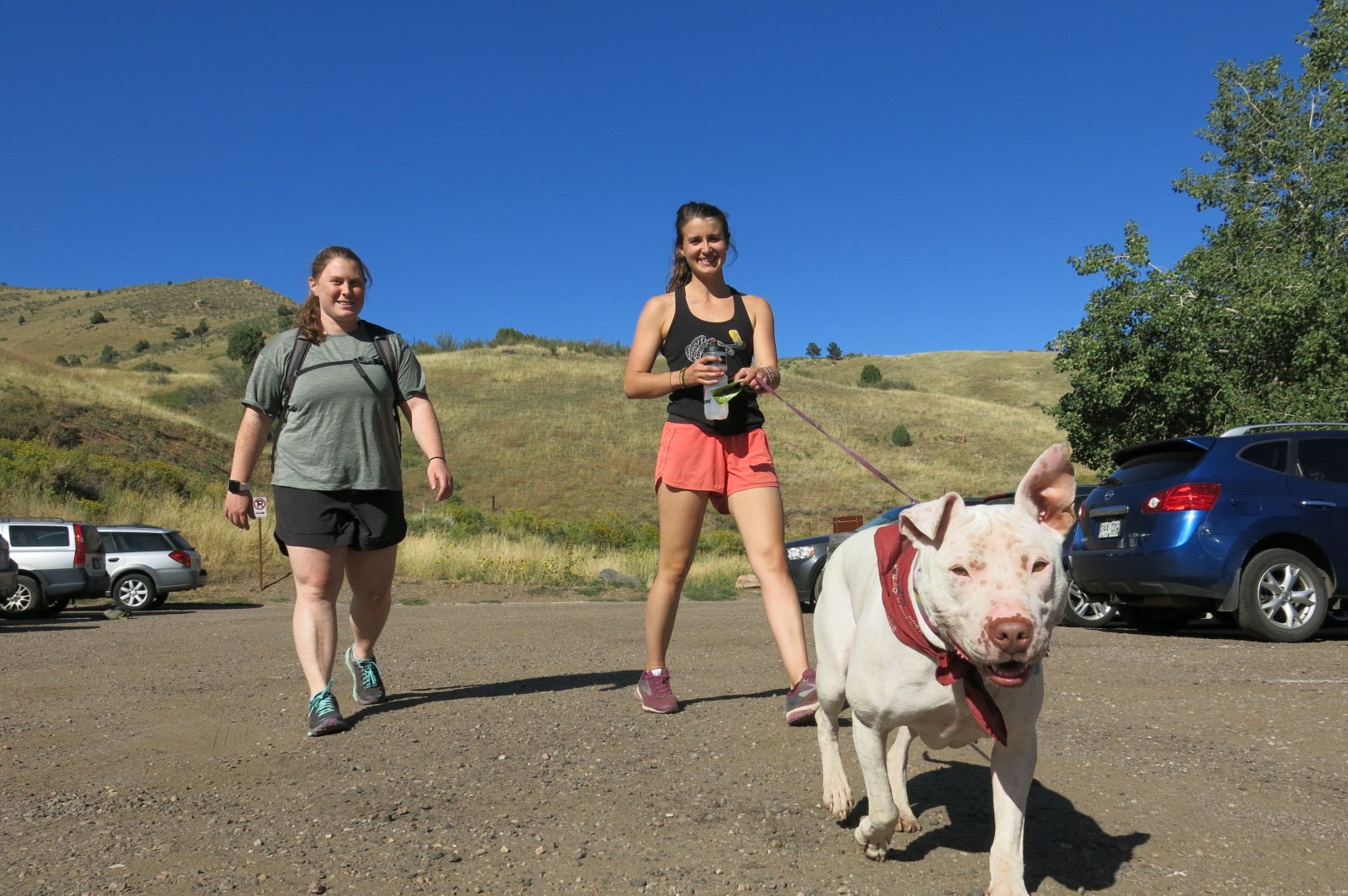 Sarah Steinke and Keely Kleman hit the trails at Jefferson County's Mount Galbraith parking lot. Finding parking is becoming an increasing challenge for the 7 million visitors who go to Jefferson County's open space system every year.