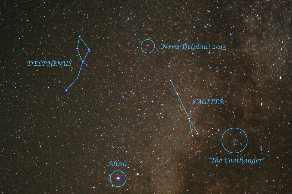 "Using a small telescope to scan the skies on August 14, Japanese amateur astronomer Koichi Itagaki discovered a ""new"" star within the boundaries of the constellation Delphinus. Indicated in this skyview captured on August 15 from Stagecoach, Colorado, it is now appropriately designated Nova Delphini 2013."