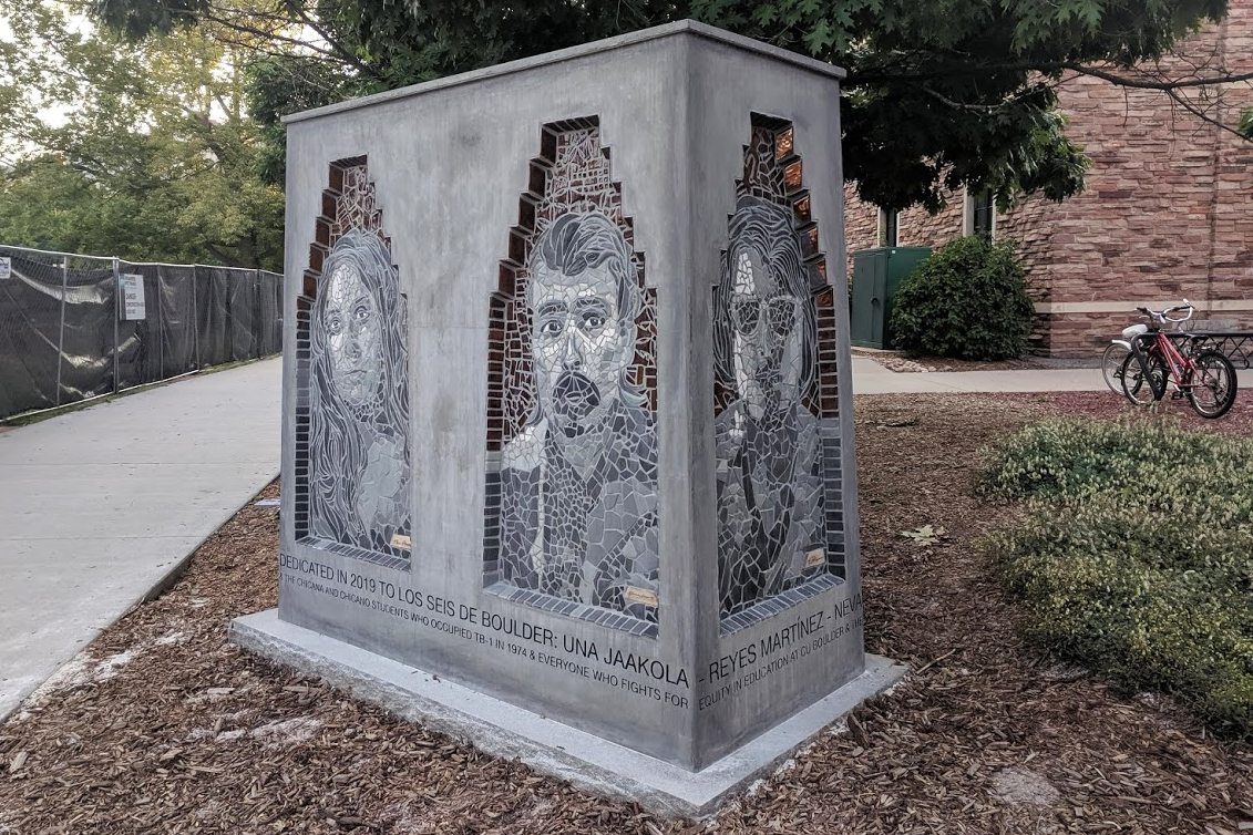 The 6-foot concrete sculpture with mosaic tile portraits of all six of activists created by CU art student Jasmine Baetz.