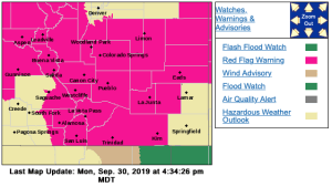 The National Weather Service in Pueblo has a Red Flag Warning in effect for much of Southern Colorado