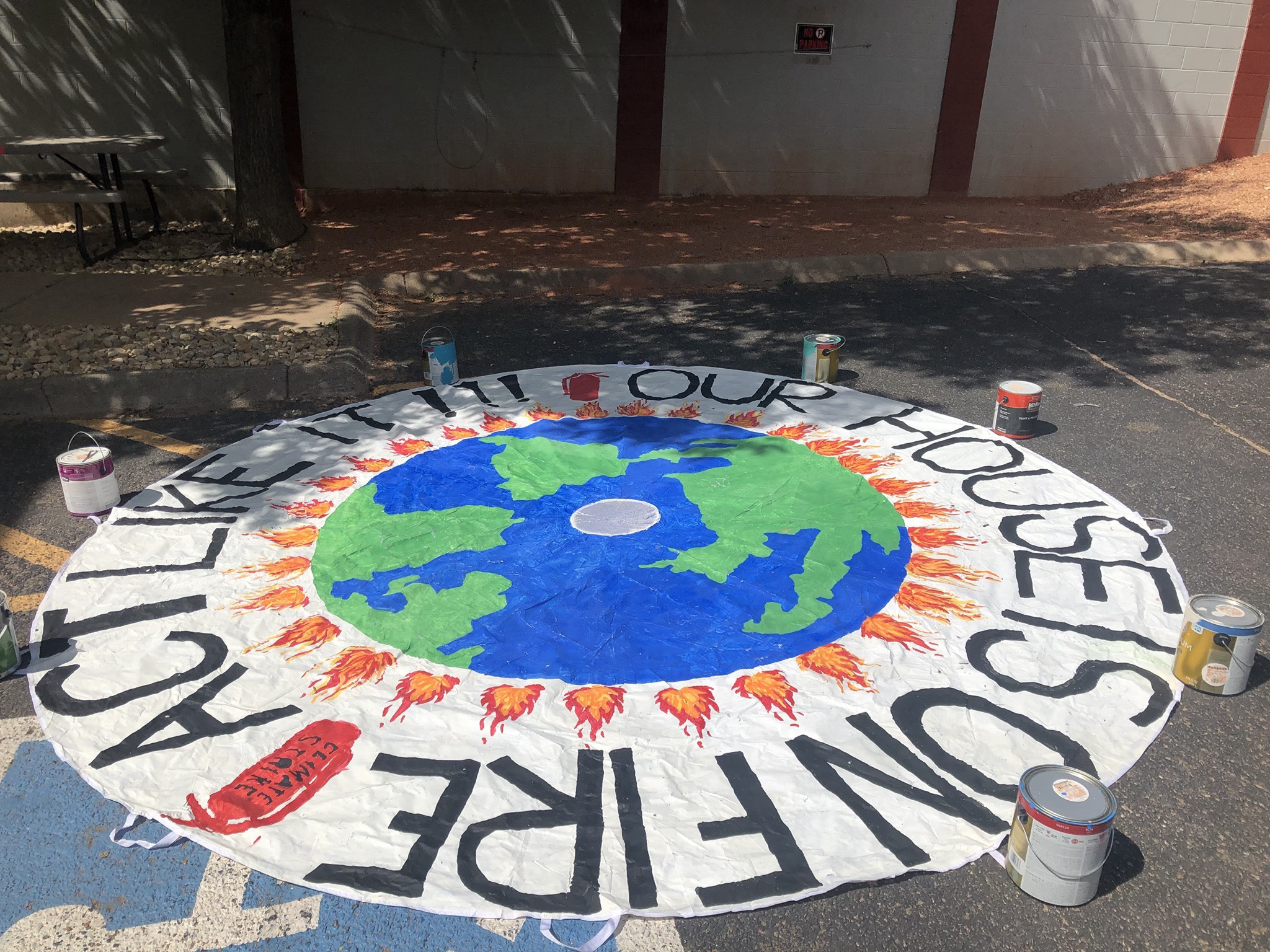 A parachute painted for the Colorado Springs youth climate strike