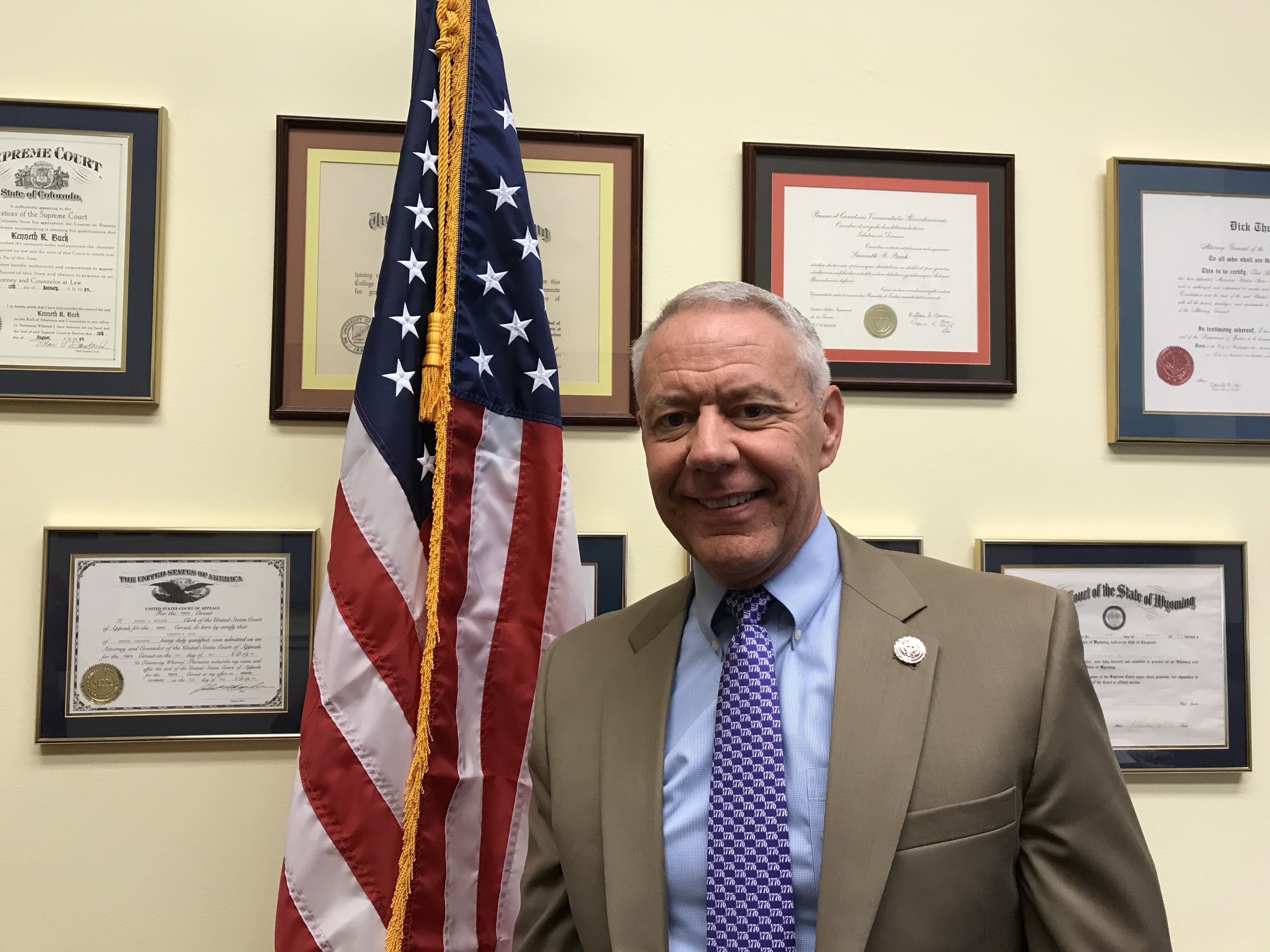 Republican Rep. Ken Buck in his Washington, D.C. office on October 17, 2019.