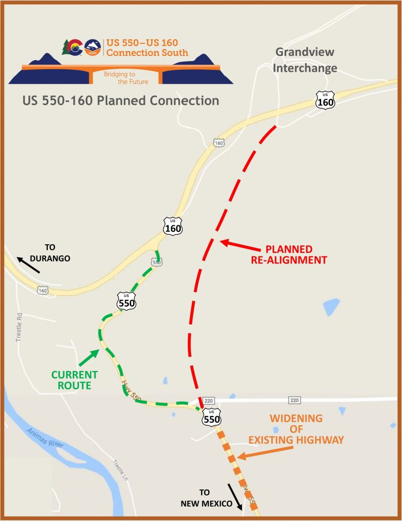 Map of proposed new path for Highway 550 near Durango