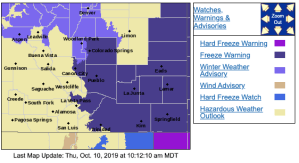 Fall's first full blast of freezing temperatures has warnings and advisories. National Weather Service - Pueblo, Thursday 10/10/19 10:18 a.m.