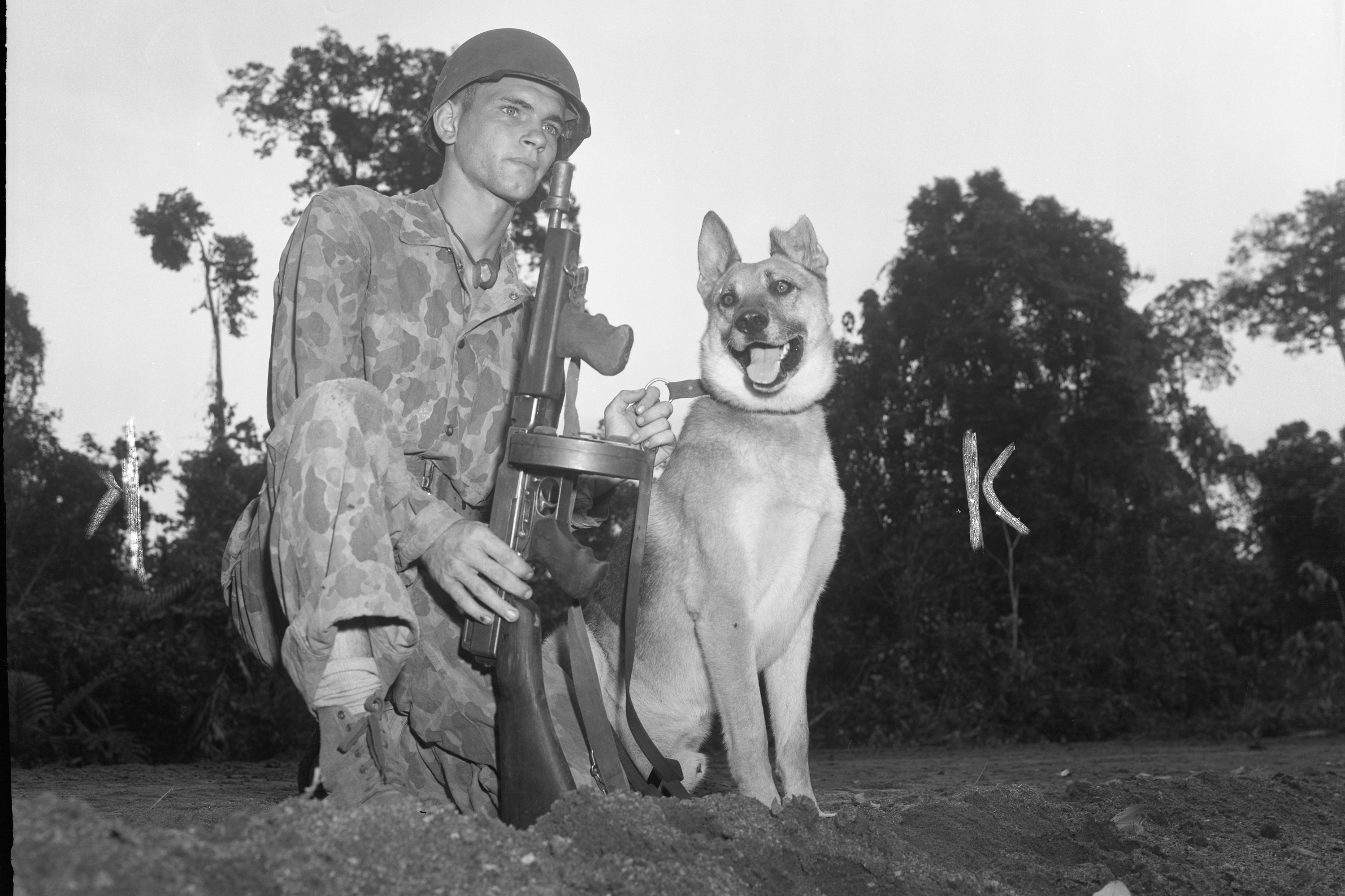 Homer Finley with a dog named Jack on Bougainville Island near Papua New Guinea on Dec. 8, 1943.