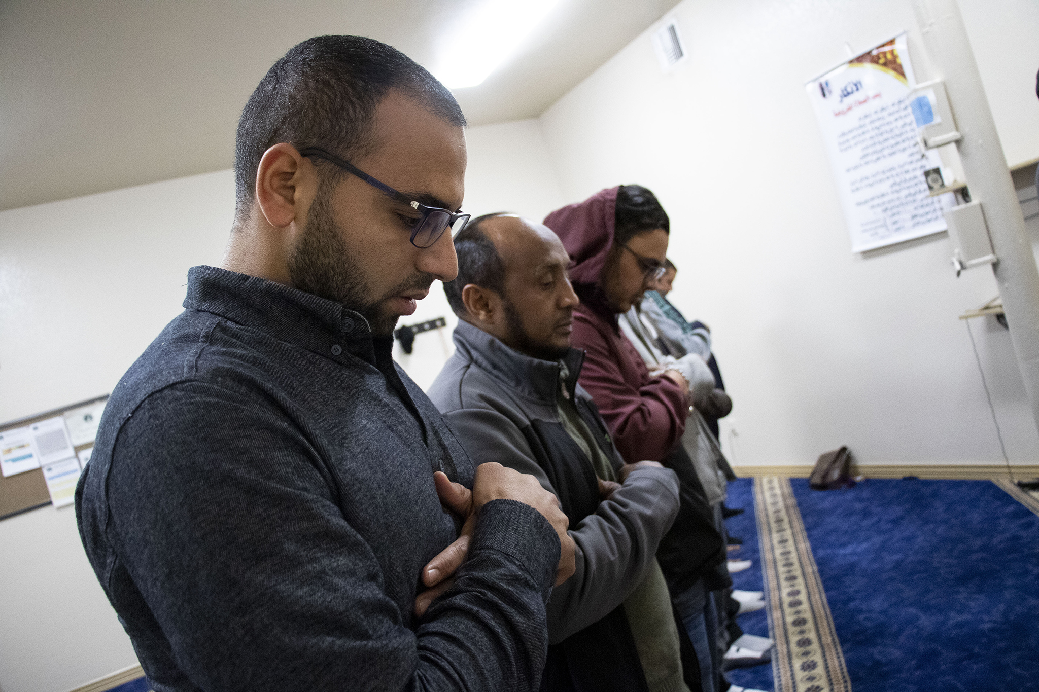 Imam Muhammad Kolila prays at the Downtown Denver Islamic Center. Nov. 14, 2019.