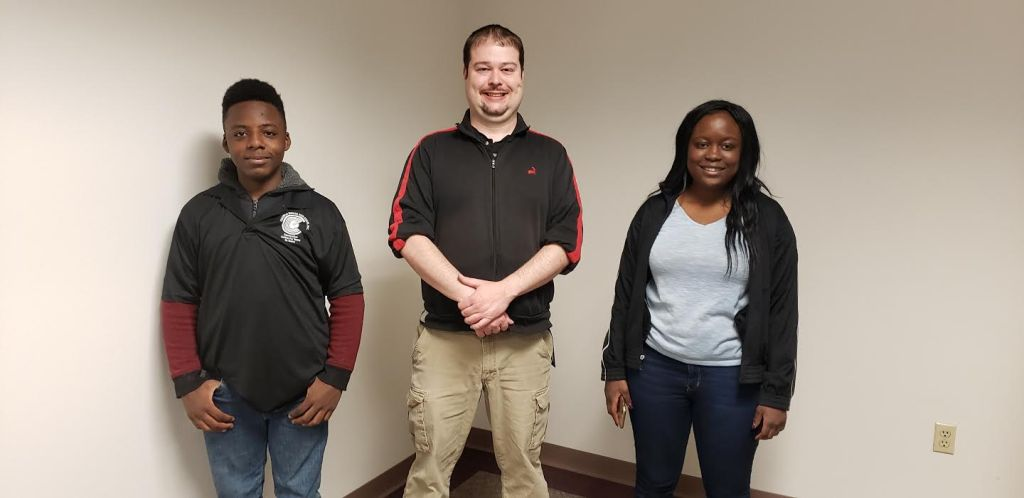 Student volunteers (left to right): Eric Pittman and Tierra Burke