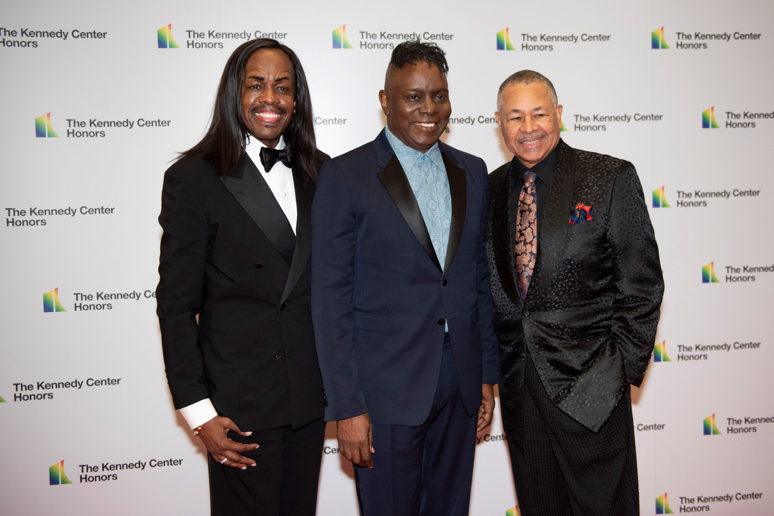 2019 Kennedy Center Honorees Earth, Wind & Fire members, from left, bassist Verdine White, singer Philip Bailey and percussionist Ralph Johnson arrive at the State Department for the Kennedy Center Honors State Department Dinner on Saturday, Dec. 7, 2019, in Washington.
