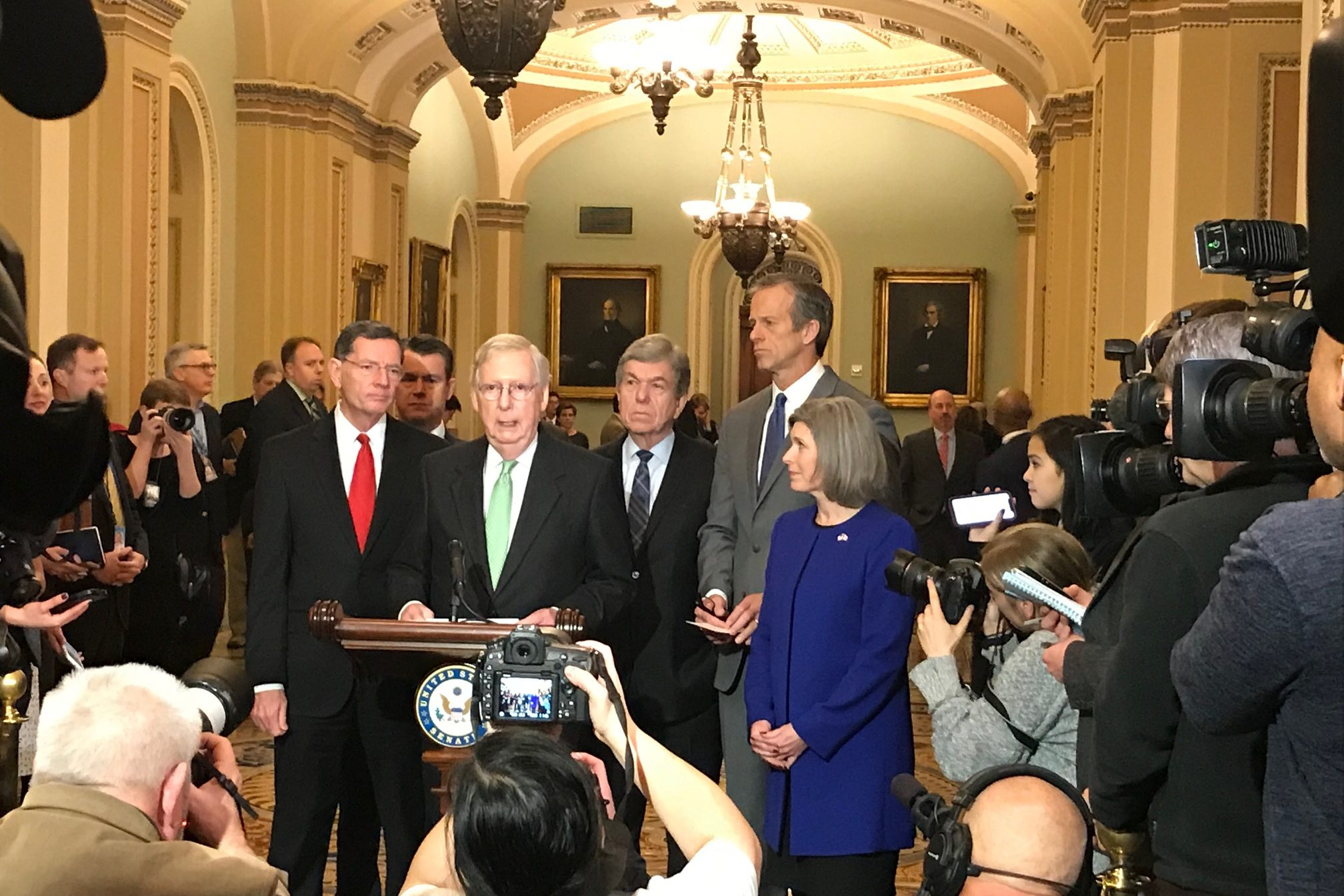 Senate Majority Leader Mitch McConnell and Republican leaders talk about passage of the spending package and the National Defense Authorization Act at an end of year press event.