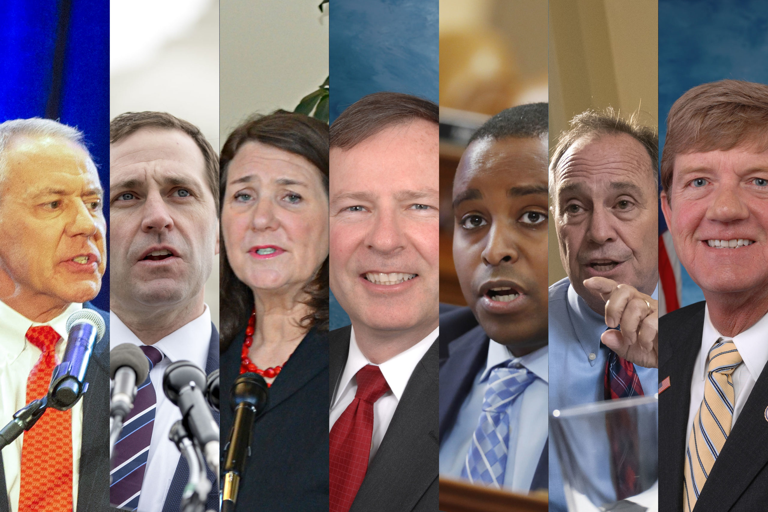 Colorado's delegation to the House of Representatives, left to right, Ken Buck, R, Democrats Jason Crow and Diana DeGette, Republican Doug Lamborn, Democrats Joe Neguse and Ed Perlmutter and Republican Scott Tipton.