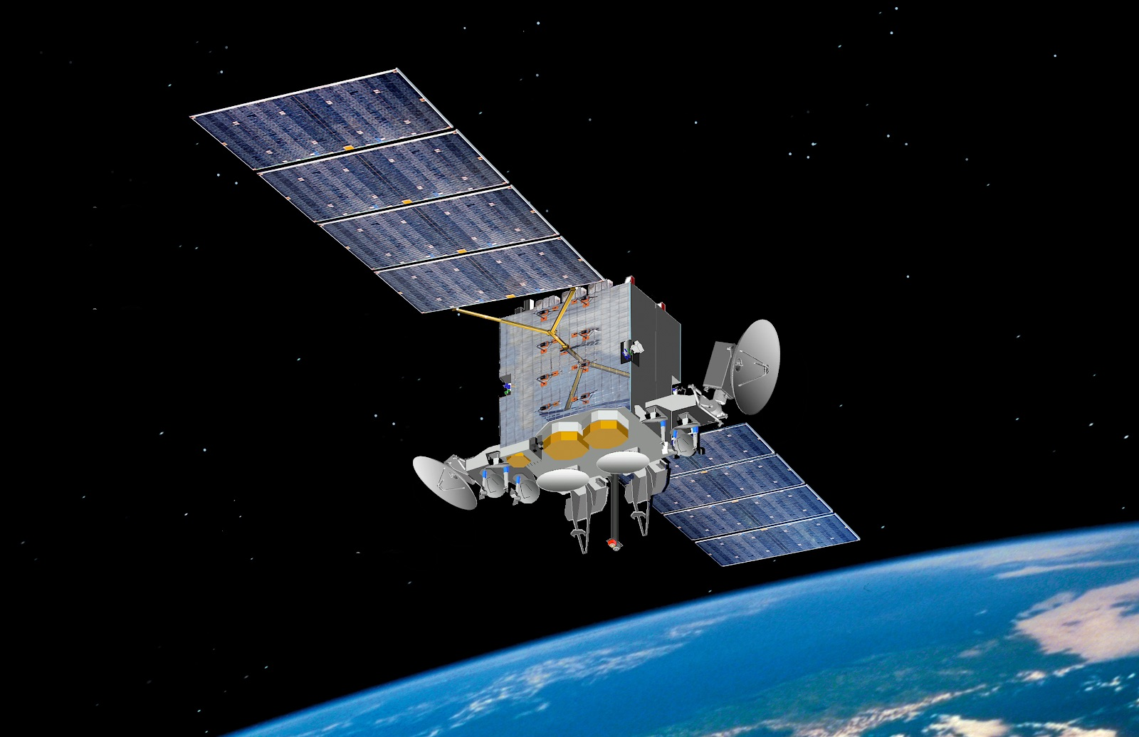 Pictured is an artist's rendering of the Advanced Extremely High Frequency satellite. AEHF-1 launched Aug. 14, 2010, and reached its operational geosynchronous earth orbit Oct. 24, 2011.