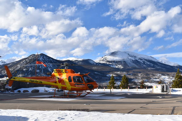 A flight for life helicopter on the helipad in Summit County.