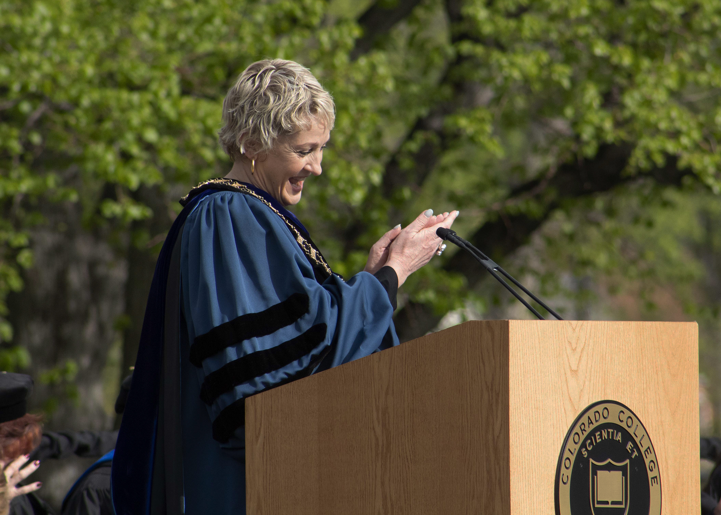 Jill Tiefenthaler speaks during the 2019 Commencement Ceremony at Colorado College.
