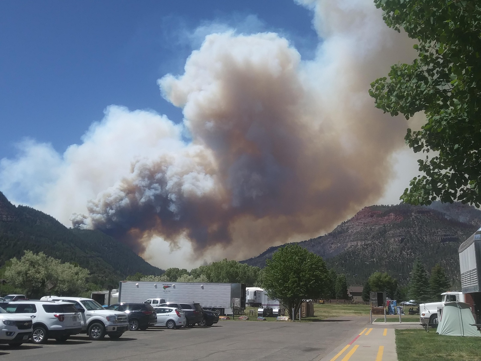 A 416 fire smoke plume south of Hermosa Creek Campground near Durango, Colorado, in 2018