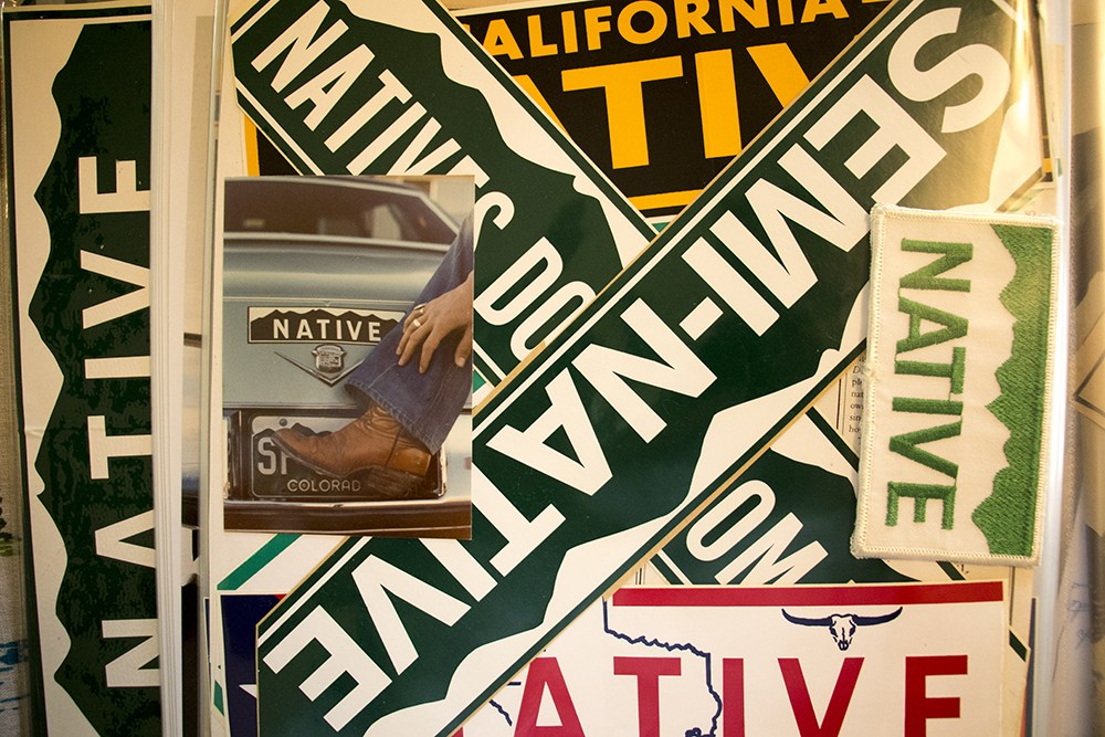 """NATIVE"" bumper stickers in inventor Eric Glade's scrapbook, May 24, 2018."