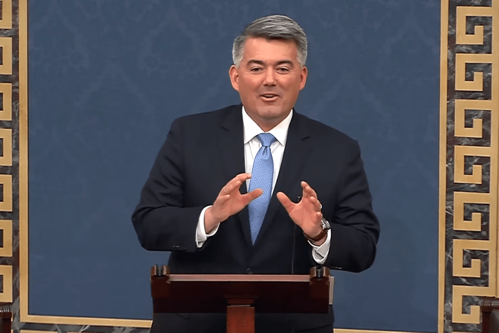 Sen. Cory Gardner speaks on the Senate floor ahead of voting on the two articles of impeachment against President Donald Trump on Wednesday, Feb. 5, 2020.