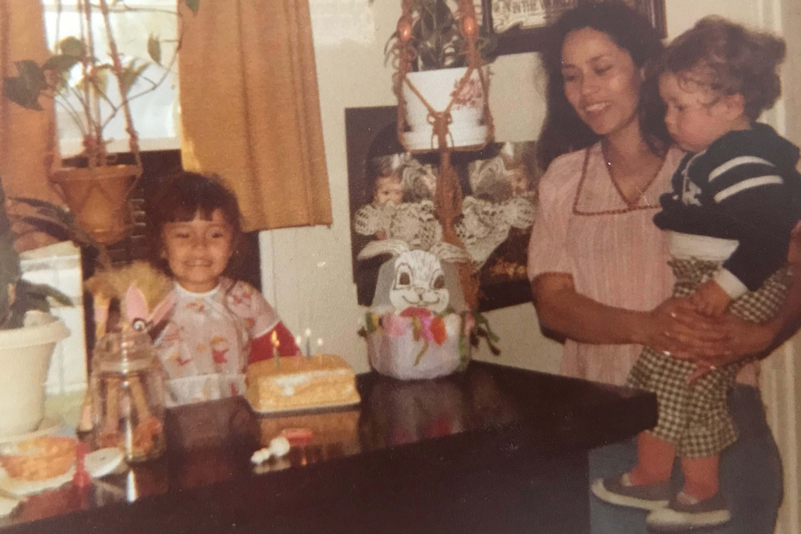 Abel Chávez as a baby in his childhood Elyria-Swansea house celebrating his sister Edith's birthday.