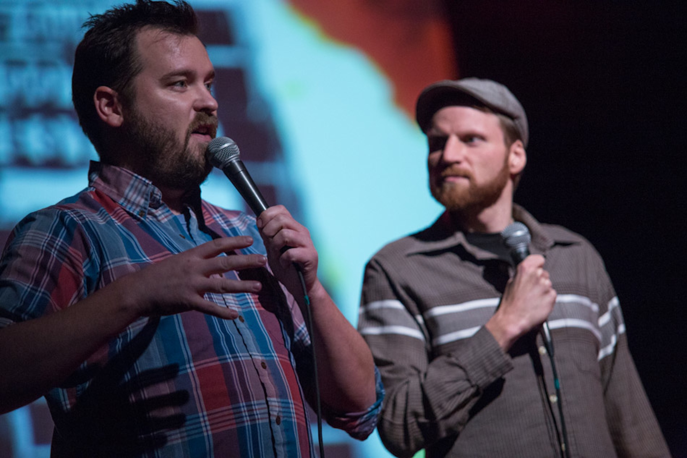 Joe Pickett and Nick Prueher, creators of the Found Footage Festival on stage in Milwaukee.