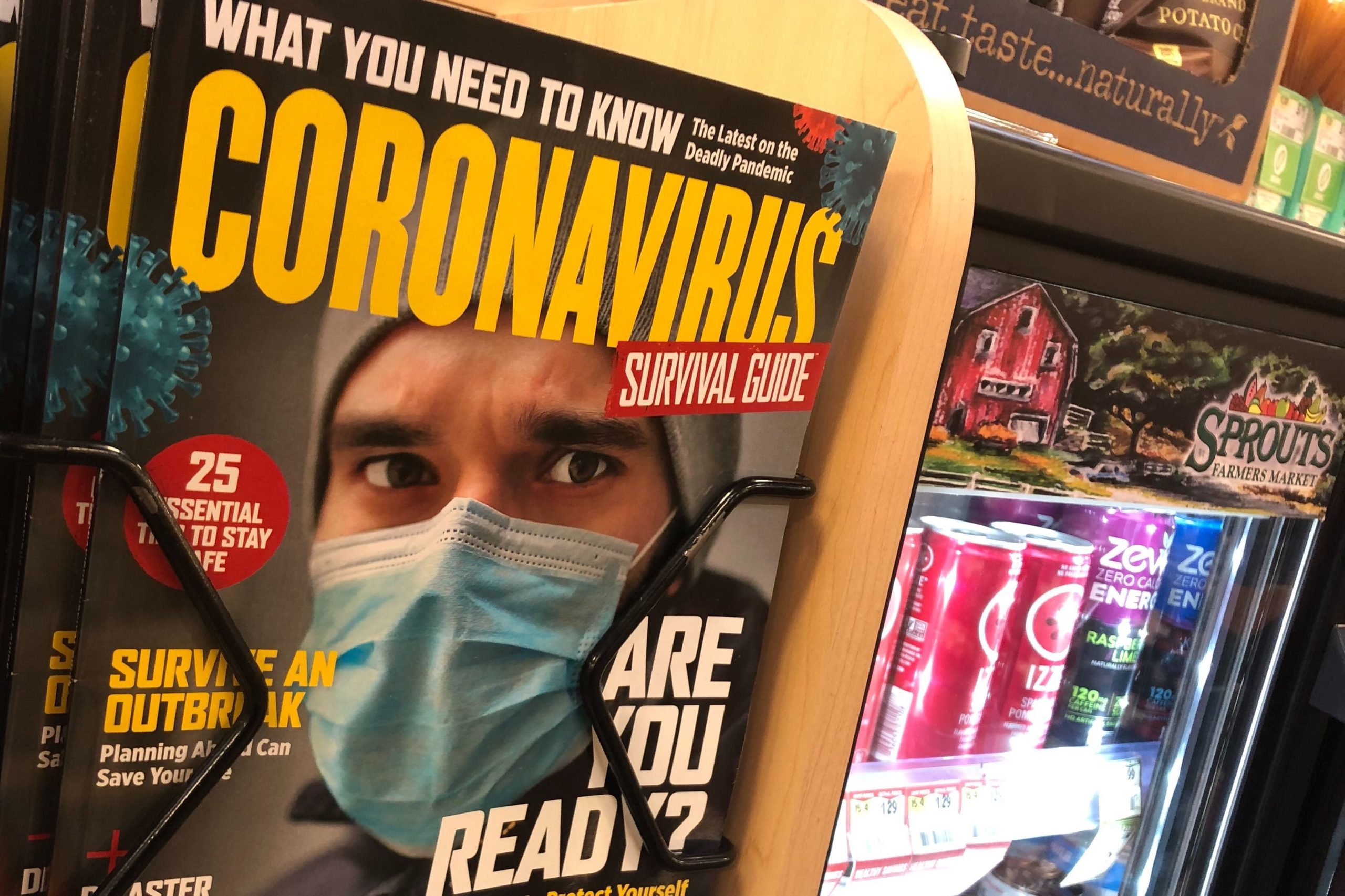 "Billing itself as a ""survival guide,"" this magazine faced customers at the check out line at a Denver-area Sprouts supermarket Sunday March 8, 2020."