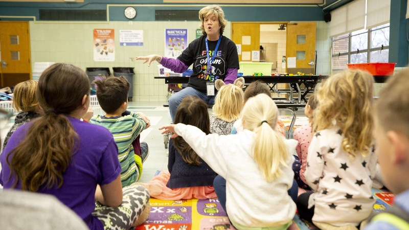 Discovery Link supervisor Jennifer Piel teaches kids at Carson Elementary how to wash their hands. March 13, 2020.