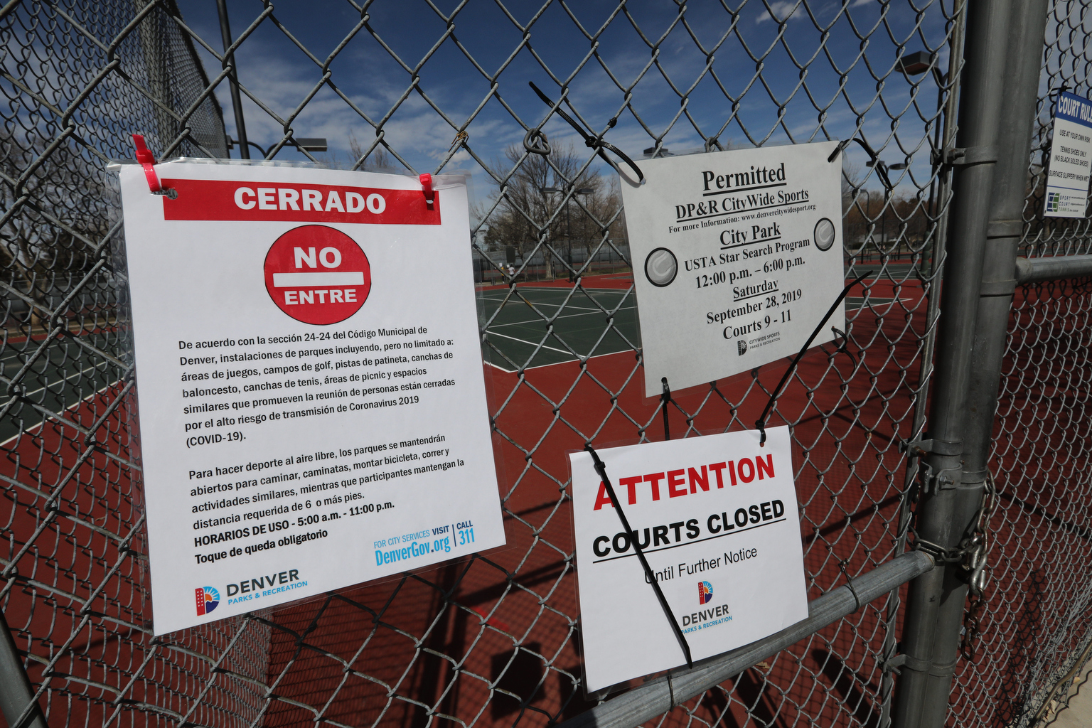 Coronavirus Denver Tennis Courts Closed