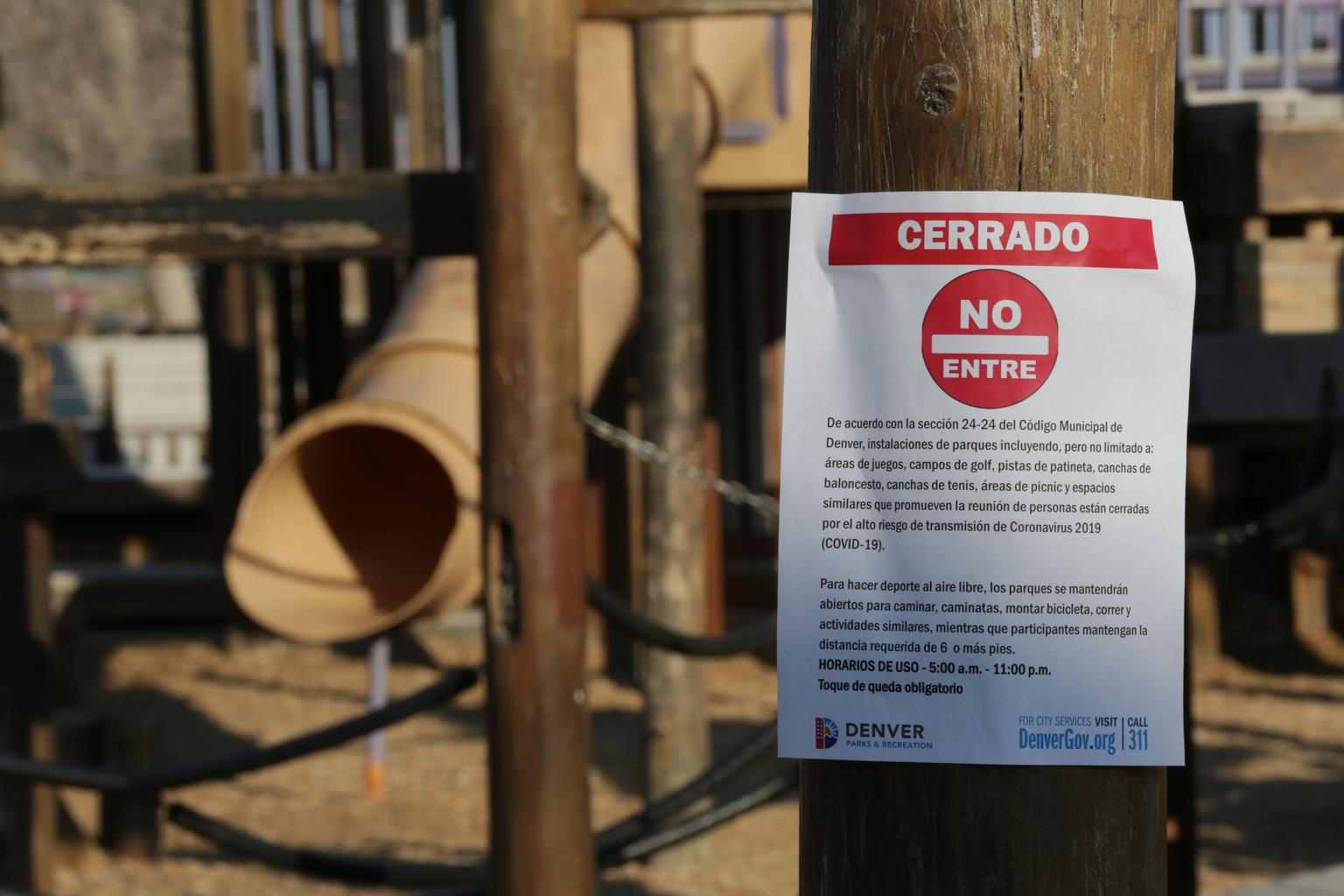Coronavirus Denver City Park community-built playground is closed