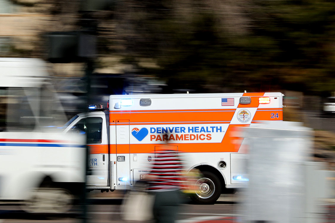 Denver Health Paramedics ambulance on Colorado Boulevard.