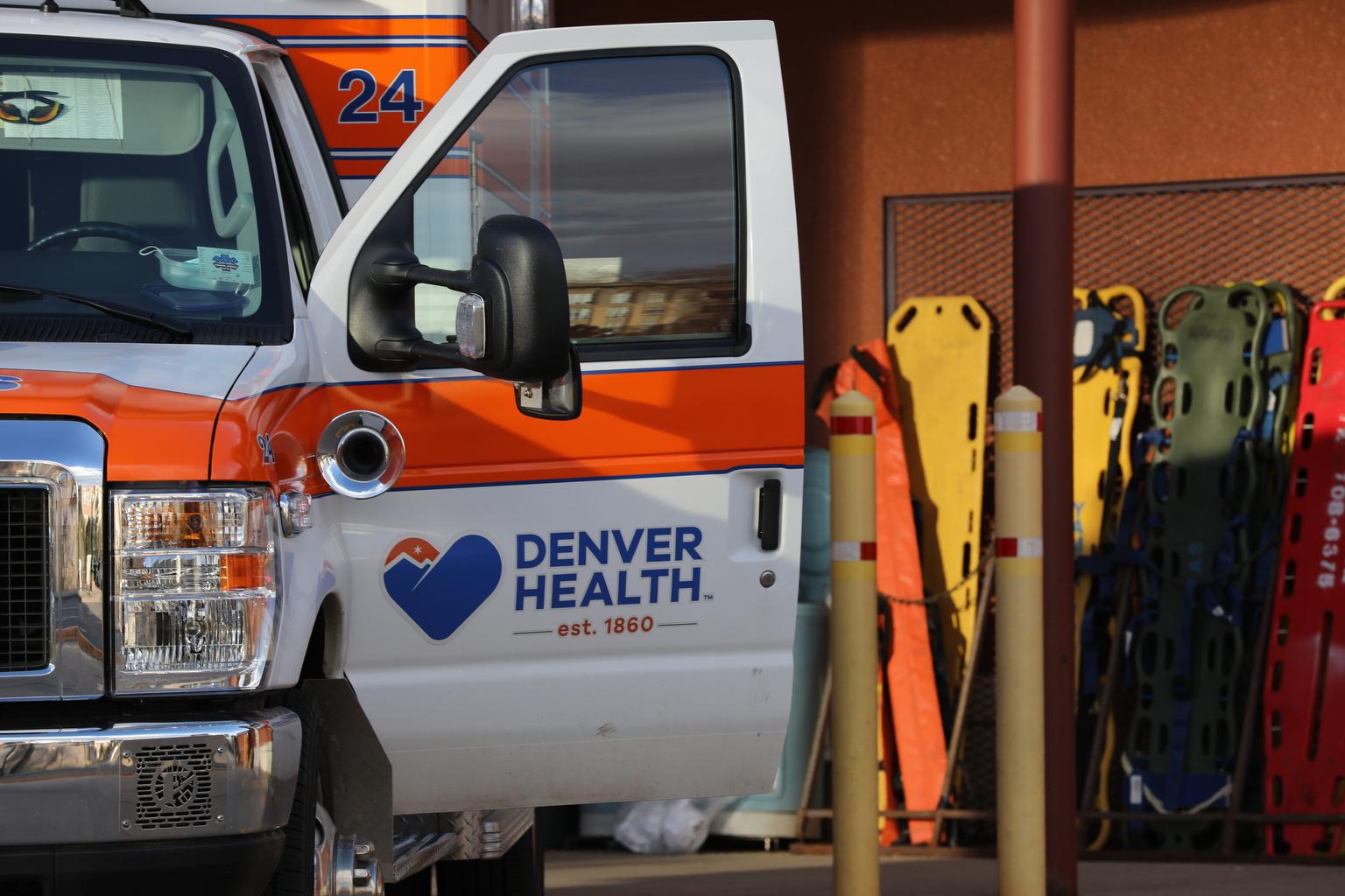 Denver Health Paramedics ambulance at Denver Health on Speer Boulevard.