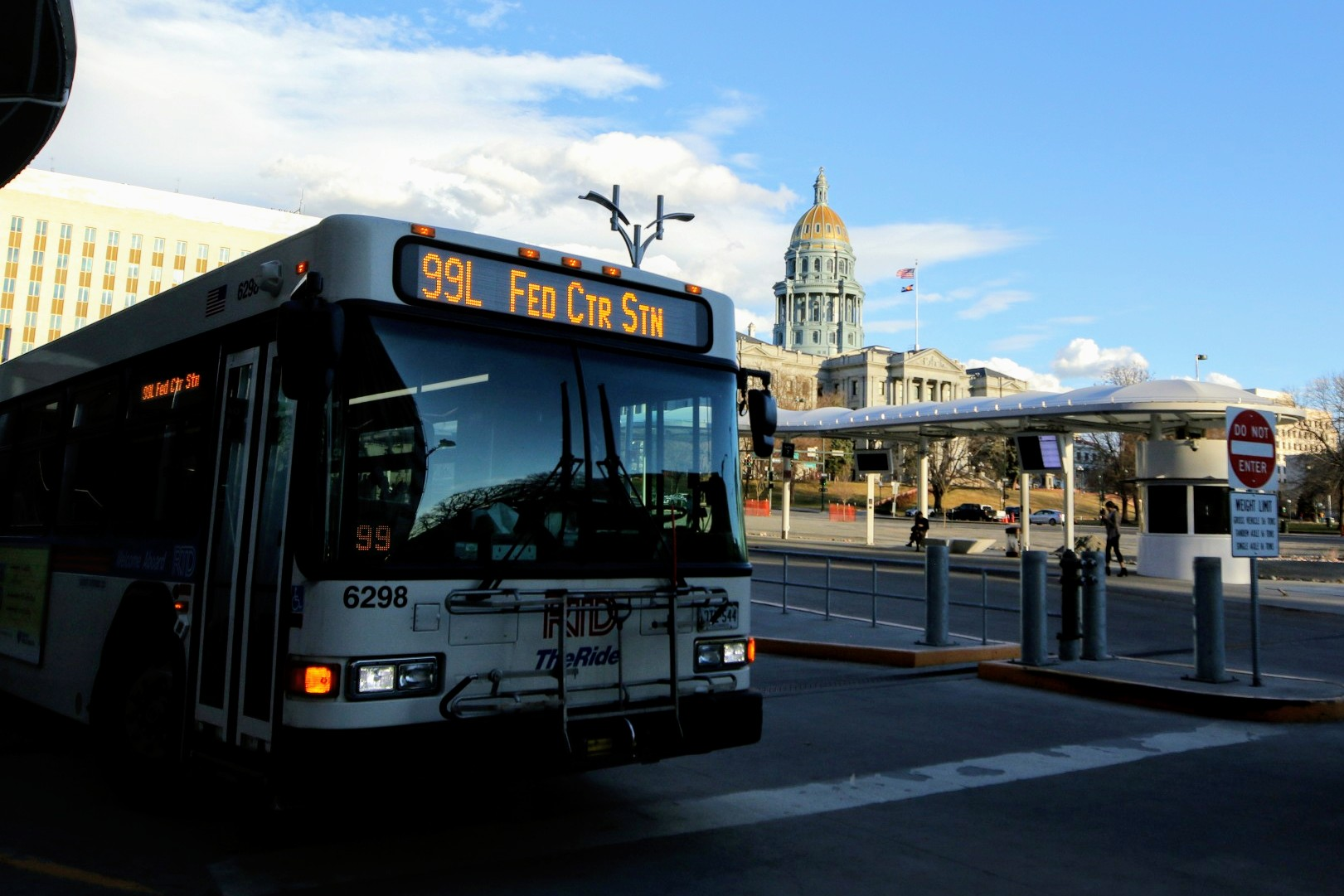 A 99L bus near the state Capitol in downtown Denver.