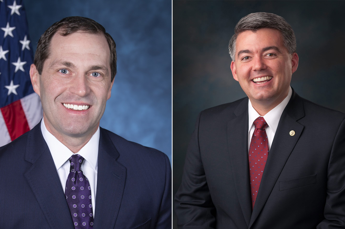Democratic Rep. Jason Crow, left and Republican Sen. Cory Gardner.