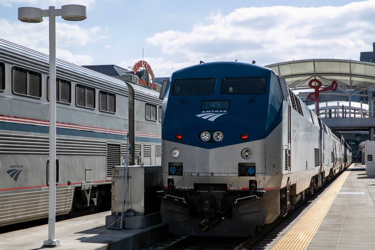 Amtrak trains at Union Staton in Denver.