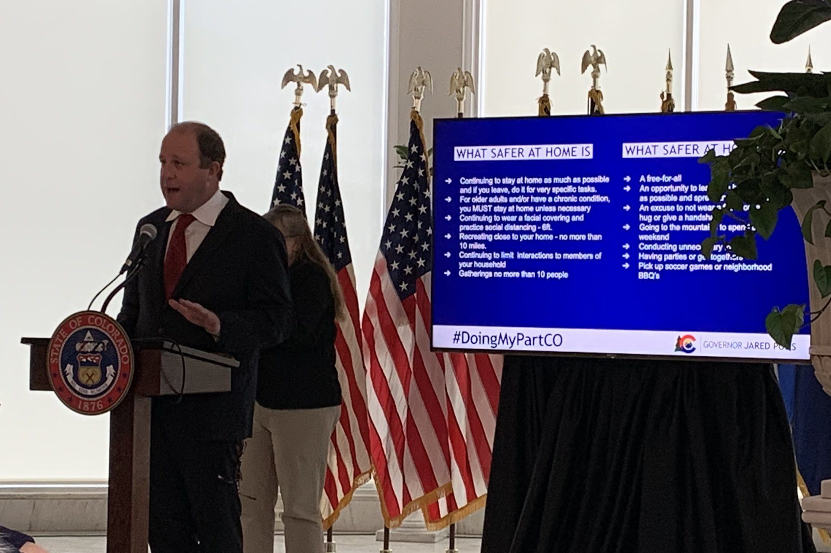 Gov. Jared Polis provides an update on the state's coronavirus response on Wednesday, April 22.