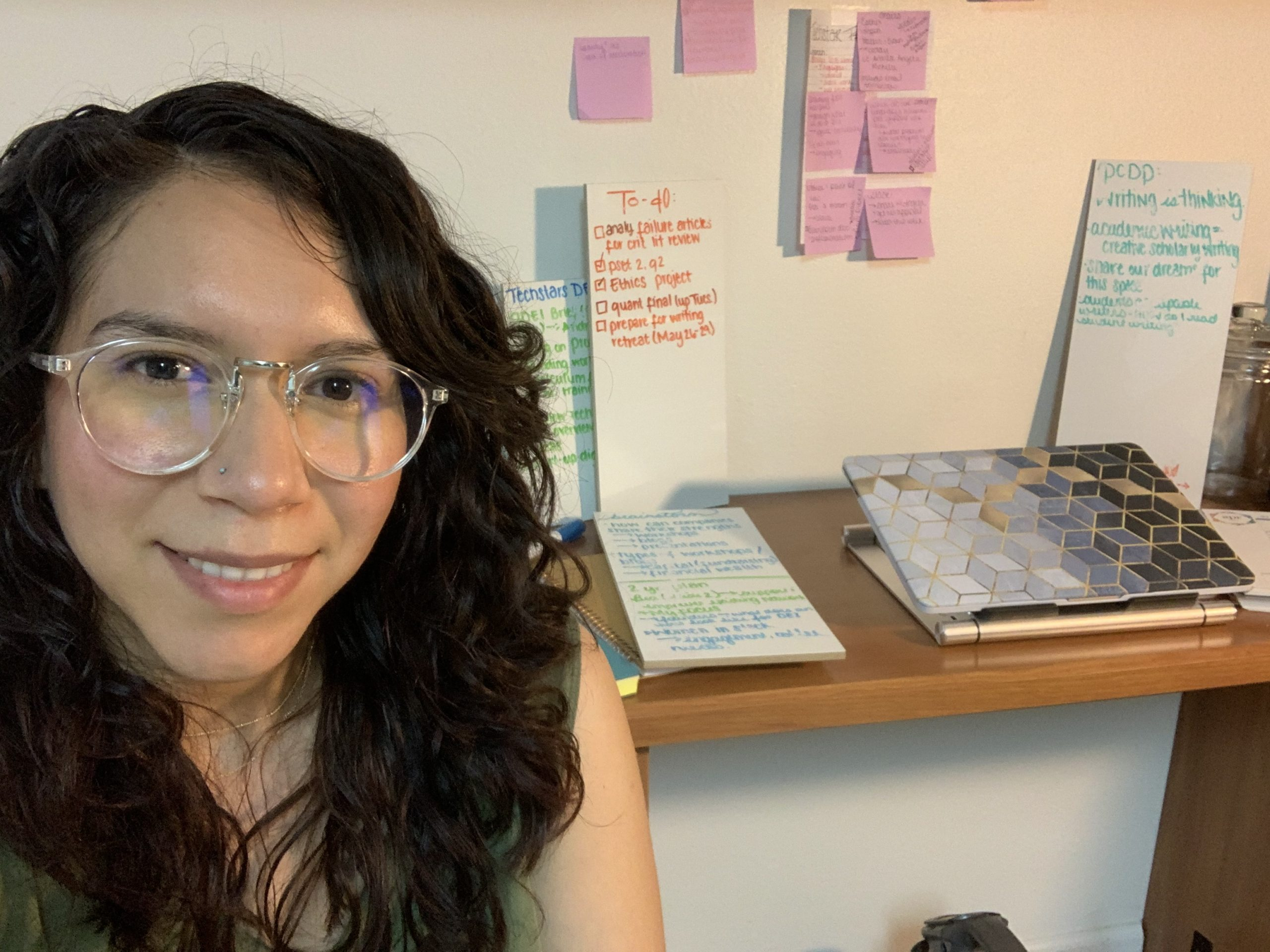 University of Colorado-Boulder Graduate Student Beatriz Salazar started her internship in person at Boulder-based Techstars, but it moved online this March because of COVID-19. She now works remotely from her home office. Salazar is a member of the Society of Hispanic Professional Engineers.